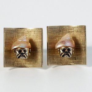 Swank Arts of the World Gold Tone Cufflinks